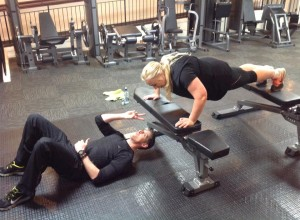 Clare and Tom working out
