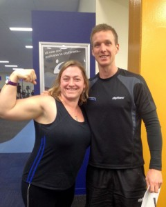 Entrant Liz and Personal Trainer Mark
