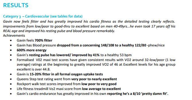 gavin cardio results