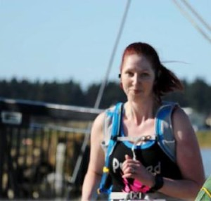 Mel completing the 10 km with a smile